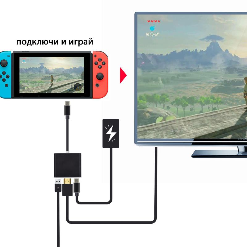 Мультипорт адаптер для Nintendo Switch компактный вместо большой док станции.