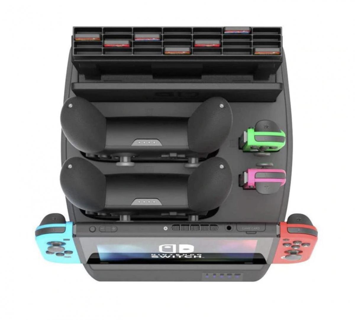 Подставка для зарядки Nintendo Switch и аксессуаров, зарядка joy-cons и pro контроллеров, 4 в 1 универсальная зарядка для нинтендо свитч, джойконов и контроллеров гемйпадов